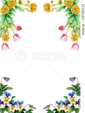 水彩で描いた春の花のフレーム素材 39580212