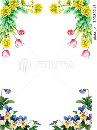 水彩で描いた春の花のフレーム素材 39580213