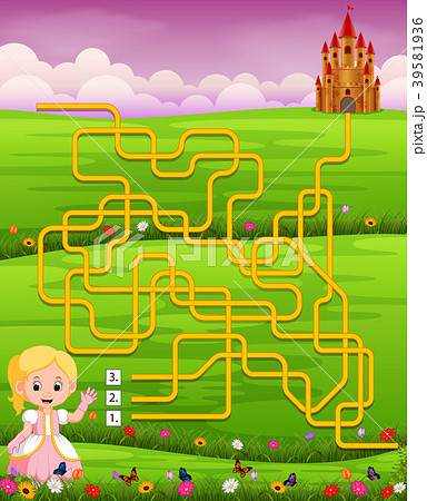 maze game template with princess のイラスト素材 39581936 pixta