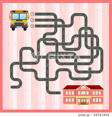 maze game template with school busのイラスト素材 39581940 pixta