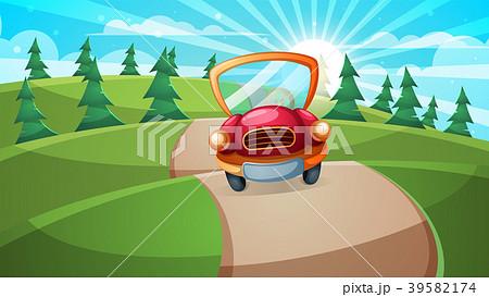 Car, road illustration. Cartoon forest landscape. 39582174