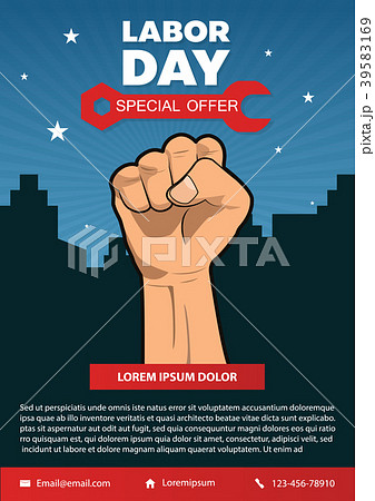 happy labor day american flag banner collectionのイラスト素材
