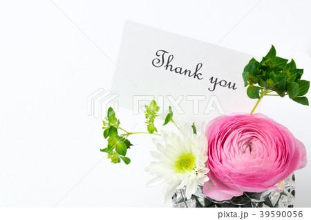 """メッセージカートと花 """"Thank you"""" 39590056"""