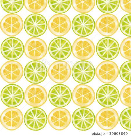 水彩風 輪切りライム&レモン 整列パターン 39603849