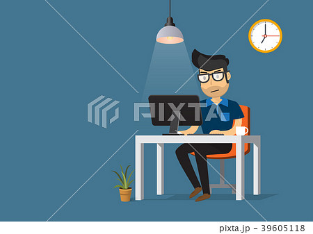 man working on desktop computer and coffee cup のイラスト素材