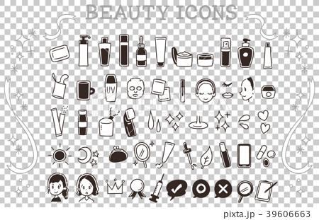 スキンケアの手描き風アイコンセット(モノクロ) 39606663