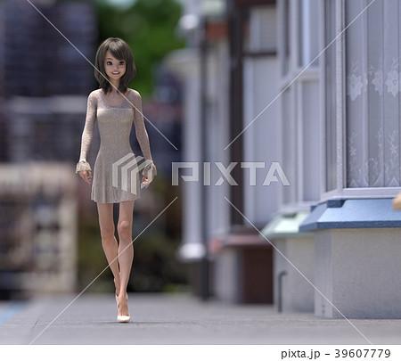 街を歩くおしゃれな女性 perming3DCG イラスト素材 39607779