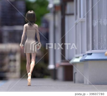 街を歩くおしゃれな女性 perming3DCG イラスト素材 39607780