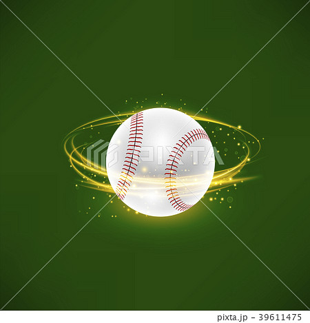 Flying Baseball Ball with Yellow Sparkles 39611475