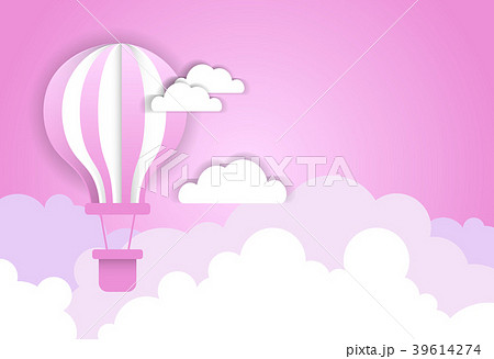 air balloon over pink clouds template backgroundのイラスト素材