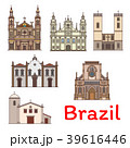 Famous travel landmark of Brazil thin line icon 39616446