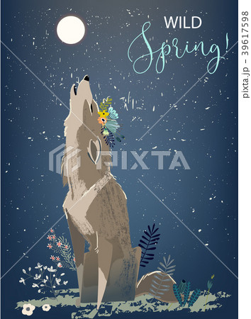 wolf with flowers 39617598