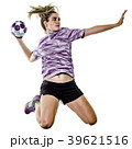 young teenager girl woman Handball player isolated 39621516