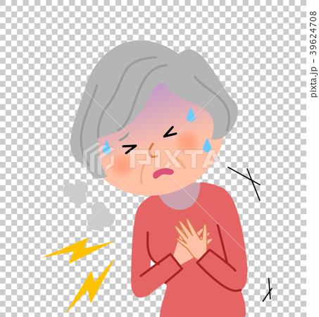シニア女性 胸 痛み 39624708