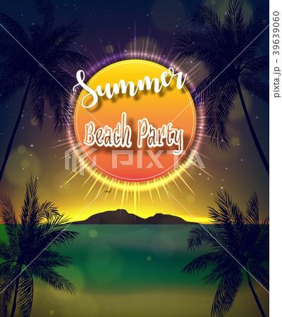 summer beach party flyerのイラスト素材 39639060 pixta