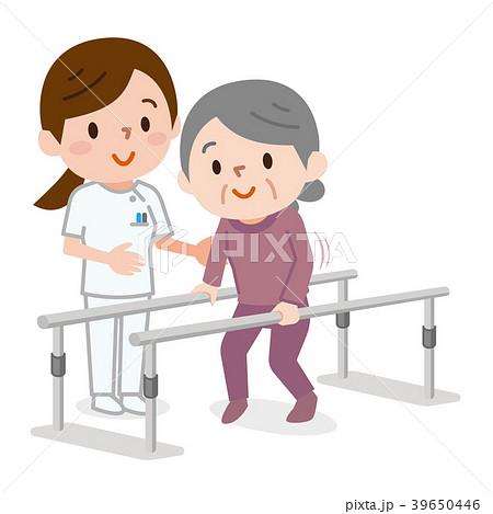 歩行訓練 シニア女性 ナース 39650446