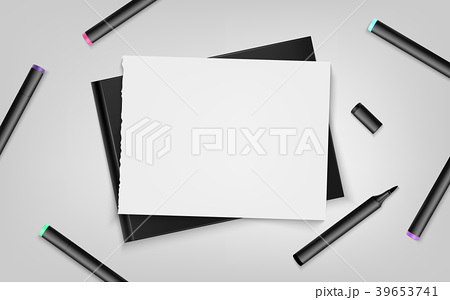 Sketchbook with markers and sheet.Vector  39653741