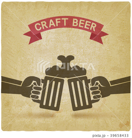craft beer banner hands with beer mugsのイラスト素材 39658433 pixta