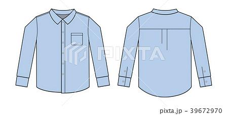 長袖シャツ・ワイシャツ・Yシャツイラストテンプレート(ライトブルー/水色) 39672970