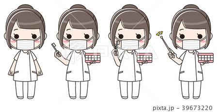 歯科衛生士の女性 正面 マスク(セット) 39673220