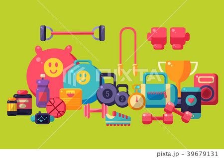 Fitness equipment set, colorful glossy gym workout 39679131