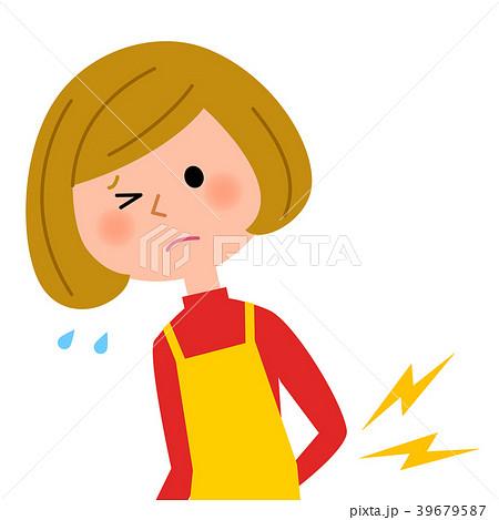 エプロンの女性 腰痛 39679587