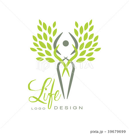 trendy life logo template with silhouette of humanのイラスト素材