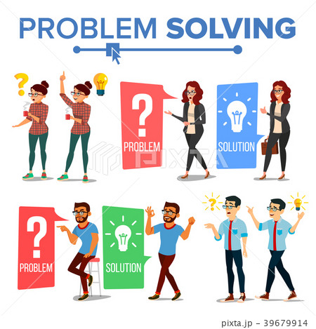 problem solving concept vector thinking man andのイラスト素材