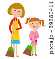 エプロンの女性と女の子 掃除 39680411