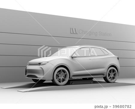 バッテリー交換している電動SUVのクレイレンダリングイメージ 39680782