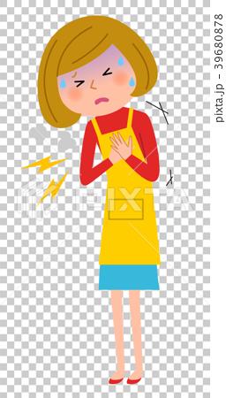 エプロンの女性 胸 痛み 39680878
