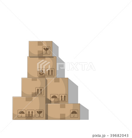 stacked boxes on white backgroundのイラスト素材 39682043 pixta