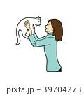 猫 動物 女性のイラスト 39704273