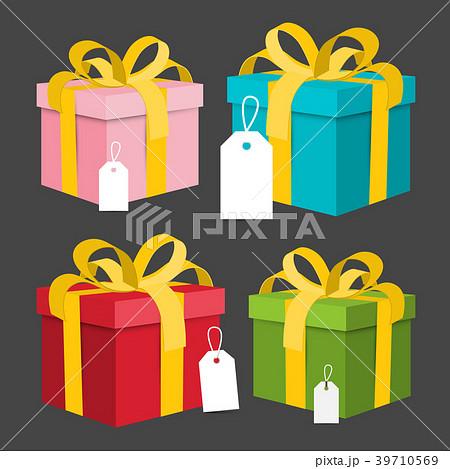 Paper Gift Boxes Set. Vector Present Box. 39710569