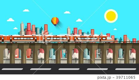 Modern Train in City. Vector Flat Design Town. 39711065