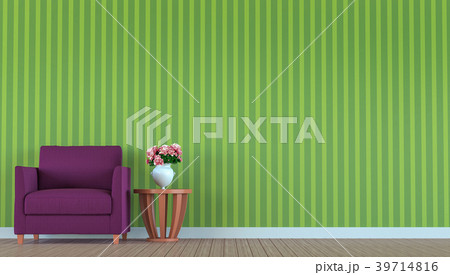 Purple sofa in a green room 3d render 39714816