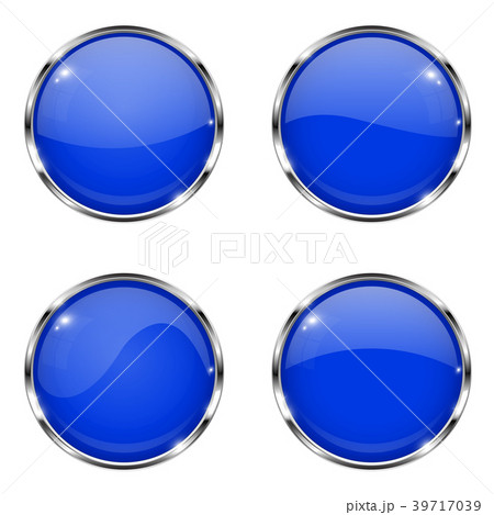 Glass blue buttons. Round 3d buttons with chrome 39717039