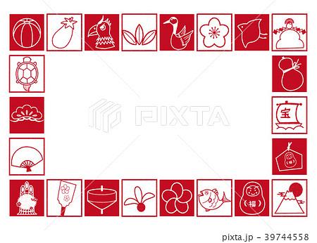 縁起物素材 四角枠 紅白 フレーム 39744558