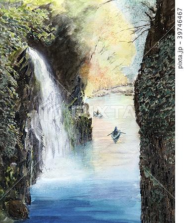 高千穂峡  渓谷 宮崎観光 手書き 水彩画 39746467