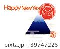年賀状 富士山 亥のイラスト 39747225