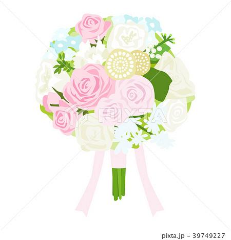 ブライダル用のブーケのイラスト。ピンクと白、水色の優しいカラフルな花束。 39749227