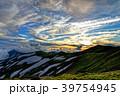 夕暮れの飯豊本山と大日岳 39754945