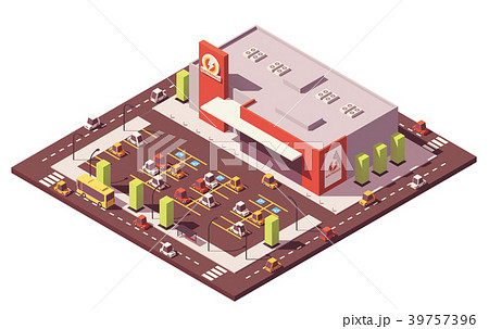 Vector isometric low poly supermarket 39757396