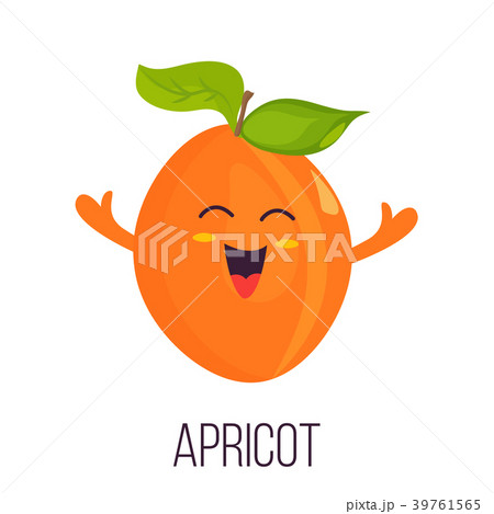 Bright poster with cute laughing apricot 39761565