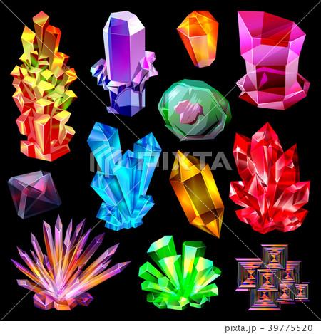 Crystal vector crystalline stone gem and precious 39775520