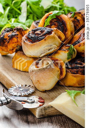 Pizza snails, minipizza with salad and parmagio 39776905