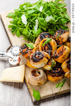 Pizza snails, minipizza with salad and parmagio 39776910