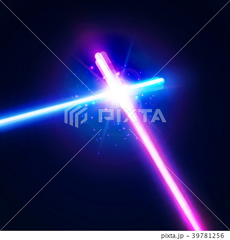 Laser sabers war. Glowing rays in space battle. 39781256