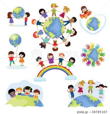 Children world vector happy kids on planet earth 39785107
