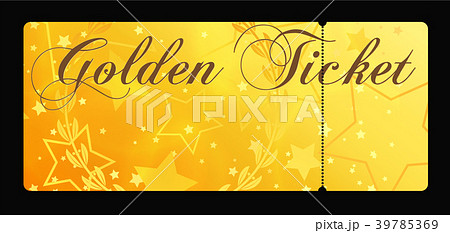 gold ticket golden token tear off ticket couponのイラスト素材